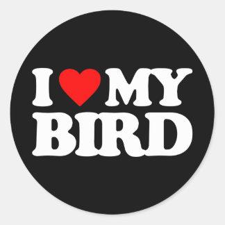 I LOVE MY BIRD ROUND STICKER