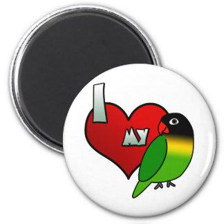 I Love my Black Masked Lovebird 6 Cm Round Magnet