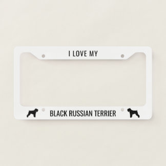I Love My Black Russian Terrier Licence Plate Frame