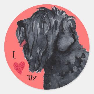 I Love my Black Russian Terrier Round Sticker