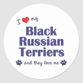 I Love My Black Russian Terriers (Multiple Dogs) Round Sticker