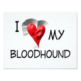 "I Love My Bloodhound 4.25"" X 5.5"" Invitation Card"