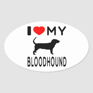 I Love My Bloodhound Oval Sticker