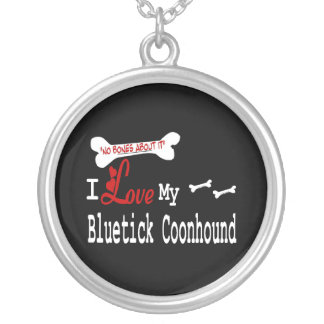I Love My Bluetick Coonhound Silver Plated Necklace