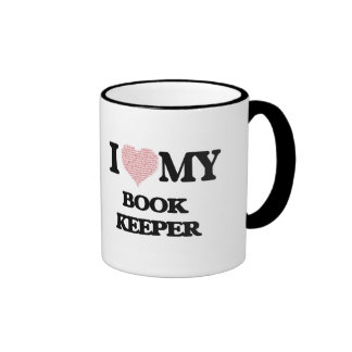 I love my Book Keeper (Heart Made from Words) Ringer Mug