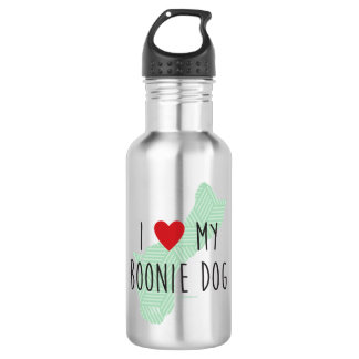 I Love My Boonie Dog Water Bottle (Green)