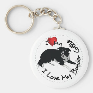 I Love My Border Collie Dog Key Ring