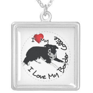 I Love My Border Collie Dog Silver Plated Necklace
