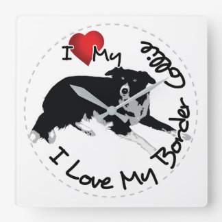 I Love My Border Collie Dog Square Wall Clock