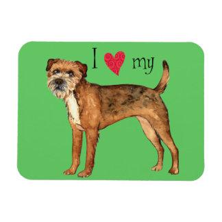 I Love my Border Terrier Rectangular Photo Magnet