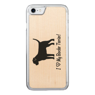 I Love My Border Terrier with Paw Prints Carved iPhone 8/7 Case