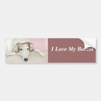 I Love My Borzoi Dog Art Bumper Sticker