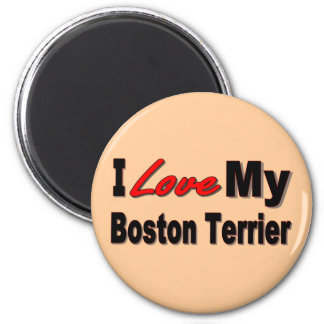 I Love My Boston Terrier Merchandise 6 Cm Round Magnet