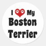 I Love My Boston Terrier Round Sticker