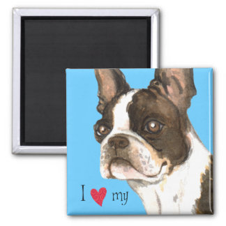 I Love my Boston Terrier Square Magnet