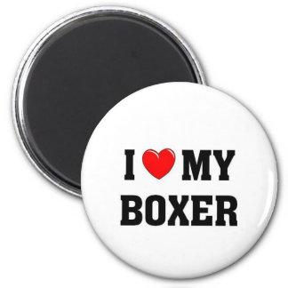 I love my boxer 6 cm round magnet