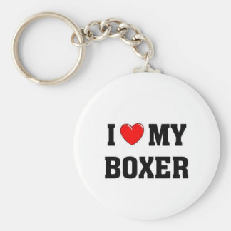 I love my boxer basic round button key ring