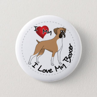 I Love My Boxer Dog 6 Cm Round Badge