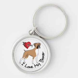 I Love My Boxer Dog Key Ring
