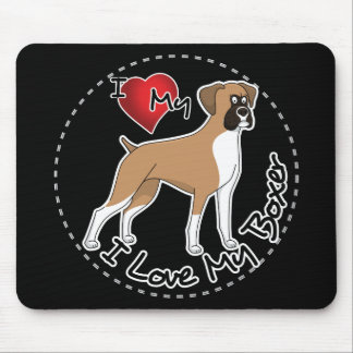 I Love My Boxer Dog Mouse Pad