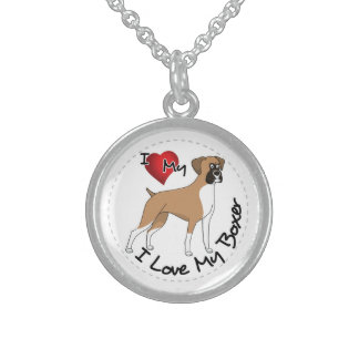 I Love My Boxer Dog Sterling Silver Necklace