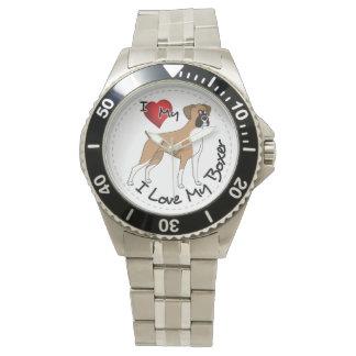 I Love My Boxer Dog Wristwatch