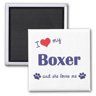 I Love My Boxer (Female Dog) Square Magnet