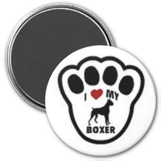 I love my Boxer Paw Print 7.5 Cm Round Magnet
