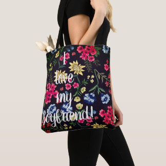 I love my boyfriend All over flower print tote Bag
