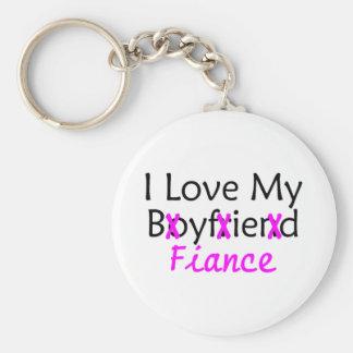 I Love My Boyfriend Fiance Pink Basic Round Button Key Ring