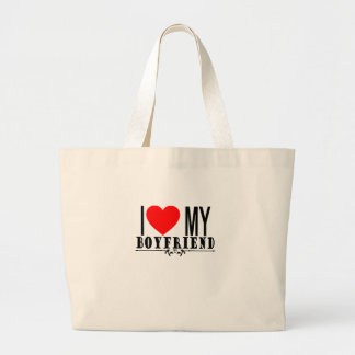 I LOVE MY BOYFRIEND VALENTINES FUNNY SHIRT '. LARGE TOTE BAG
