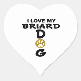 I Love My Briard Dog Designs Heart Sticker