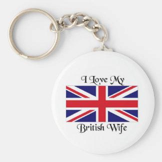 I love my British wife Basic Round Button Key Ring