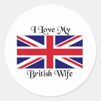 I love my British wife Classic Round Sticker