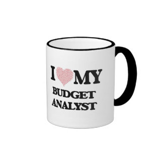 I love my Budget Analyst (Heart Made from Words) Ringer Mug