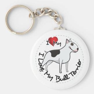 I Love My Bull Terrier Dog Key Ring
