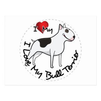 I Love My Bull Terrier Dog Postcard
