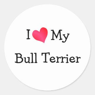 I Love My Bull Terrier Stickers