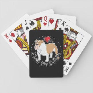 I Love My Bulldog Dog Playing Cards