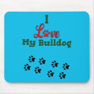 I Love My Bulldog Mousepad with Paw Prints