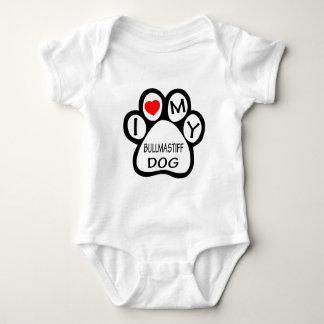 I Love My Bullmastiff Dog Baby Bodysuit