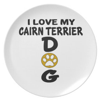 I Love My Cairn Terrier Dog Designs Party Plates