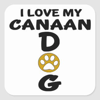 I Love My Canaan Dog Dog Designs Square Sticker