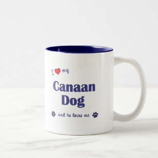 I Love My Canaan Dog (Male Dog) Two-Tone Coffee Mug