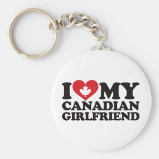 I Love My Canadian Girlfriend Basic Round Button Key Ring