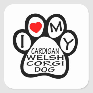 I Love My Cardigan Welsh Corgi Dog Square Sticker