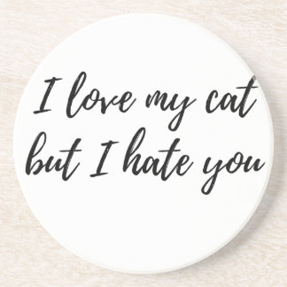 I Love My Cat - Black Coaster