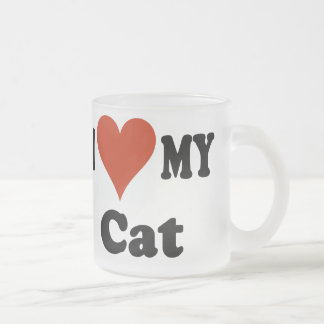I Love My Cat Frosted Coffee Mug