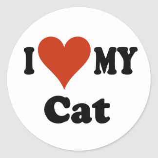 I Love My Cat Gifts and Apparel Round Sticker