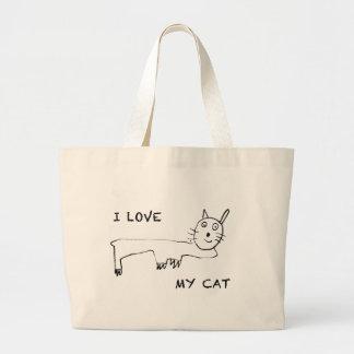 I Love My Cat Large Tote Bag